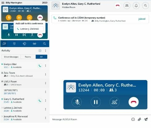 screen shot of call merging with zulu